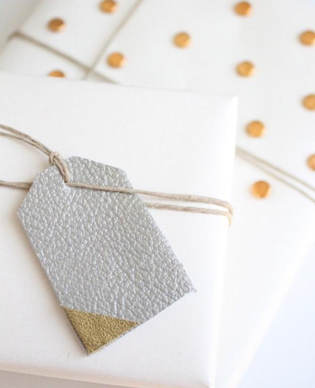 étiquette cuir paquet cadeau noel diy argent or