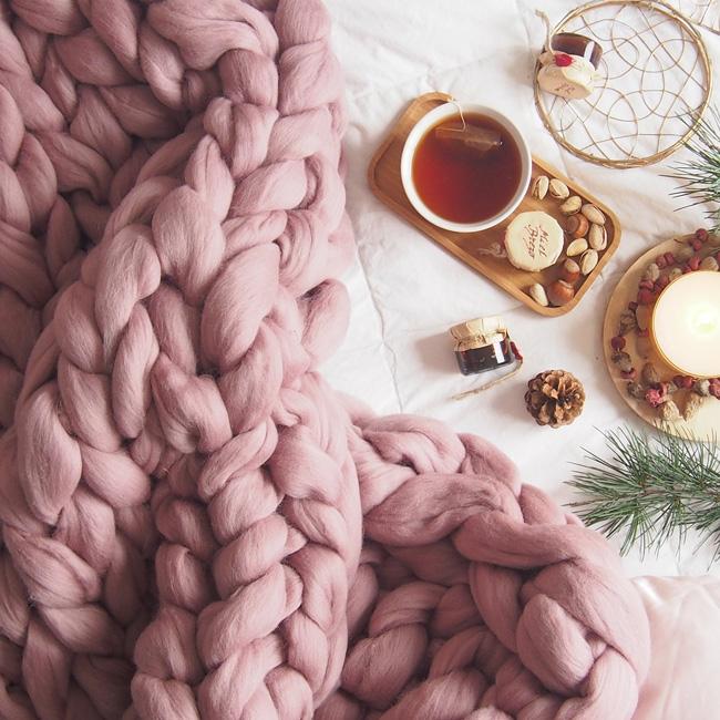 plaid tricot géant laine xxl vieux rose