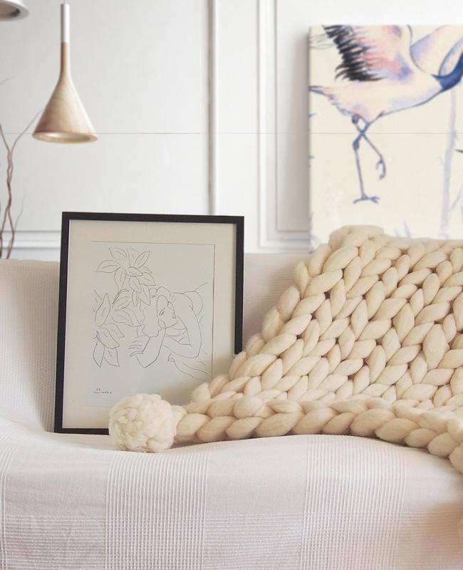 plaid tricot géant laine xxl beige pompons