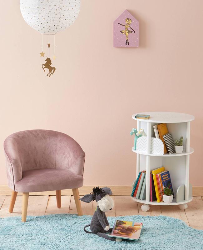 promo vert baudet fauteuil velours rose