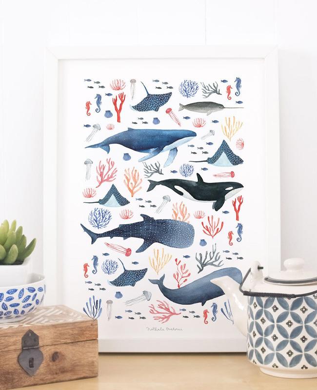 etsy affiche illustration ouederni baleine