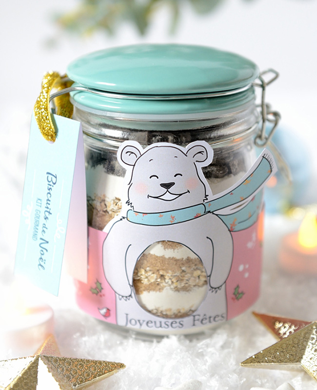 cadeau bocal diy noel cookies
