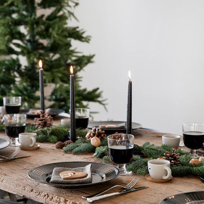 deco noel noir bois table