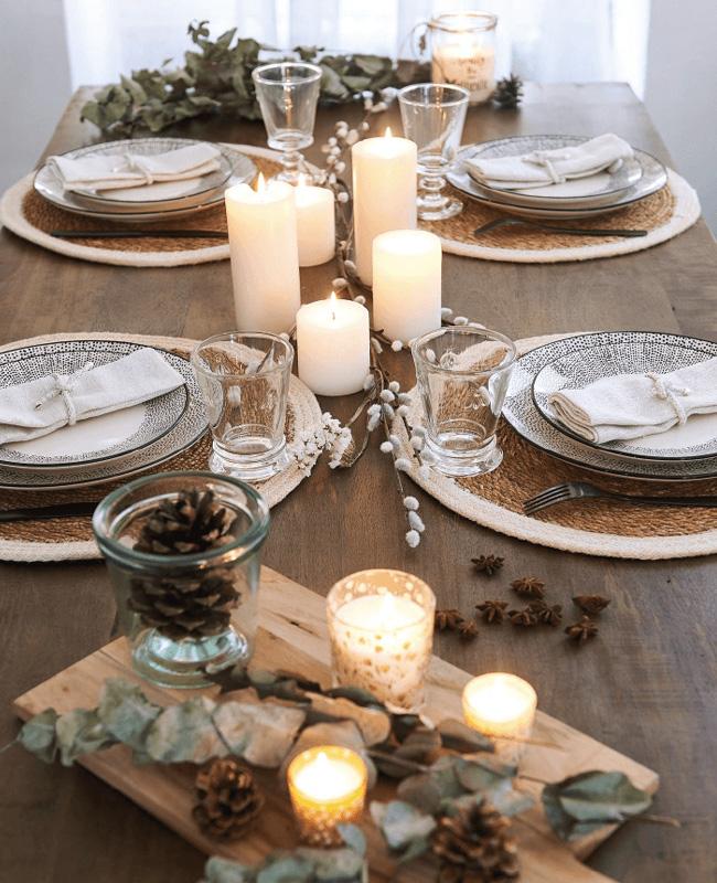 deco table noel bois épurée minimaliste