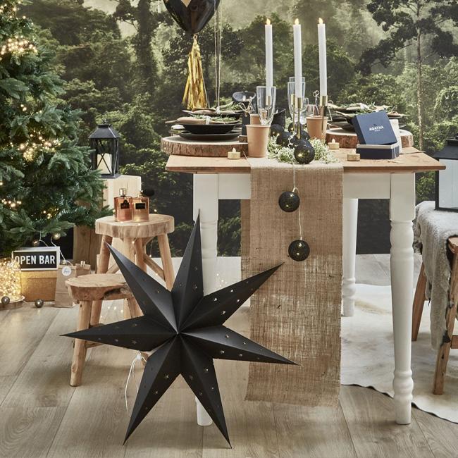 deco table noel bois noir blanc