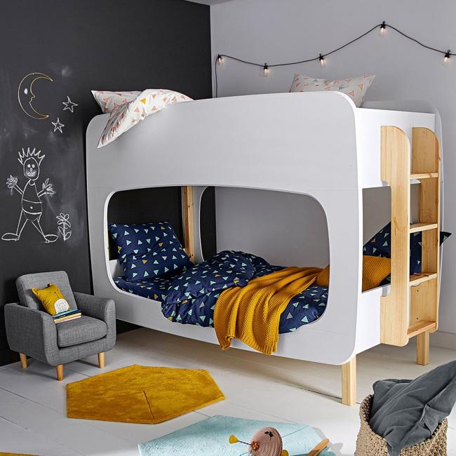 lit superposé design enfant bois blanc