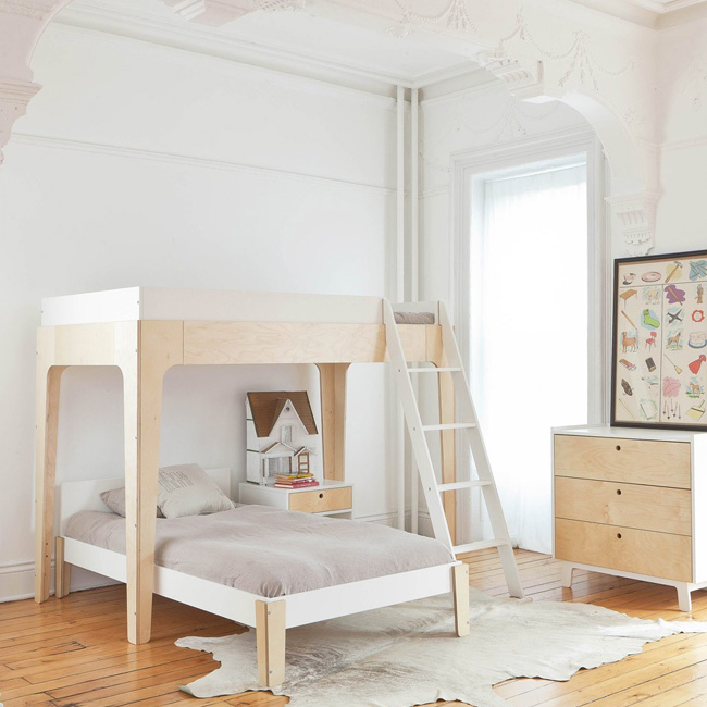 lit superposé design enfant bouleau blanc