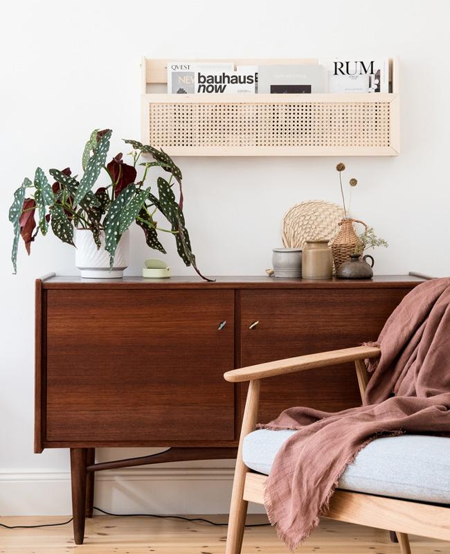 petit meuble cannage diy étagère murale magazine