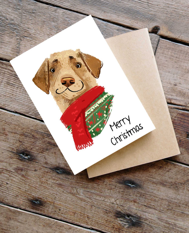 carte noel à imprimer etsy chien