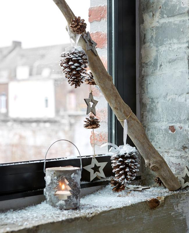 deco fenêtre noel à faire soi même branche bois