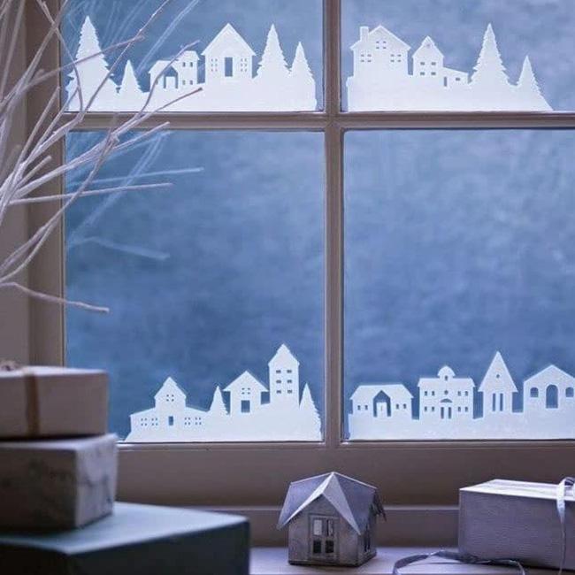 deco fenêtre noel à faire soi même village sticker