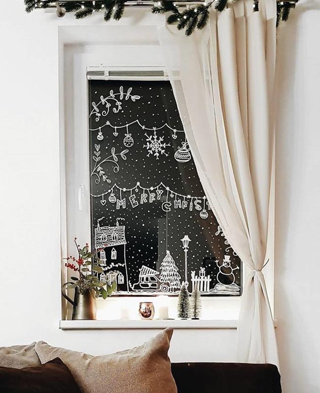 deco fenêtre noel à faire soi même feutre verre