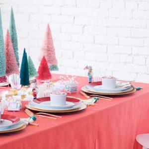 déco table noël rose et or