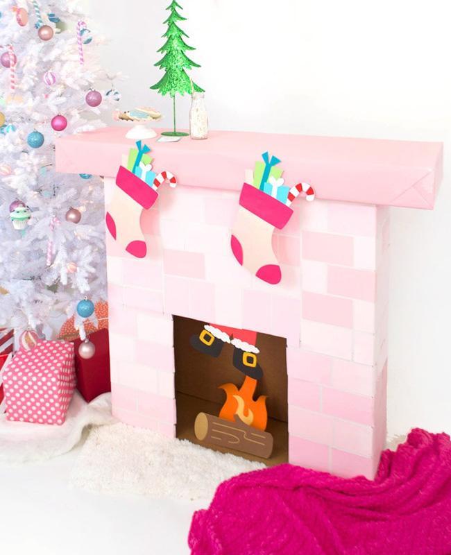 fausse cheminée noel diy carton rose