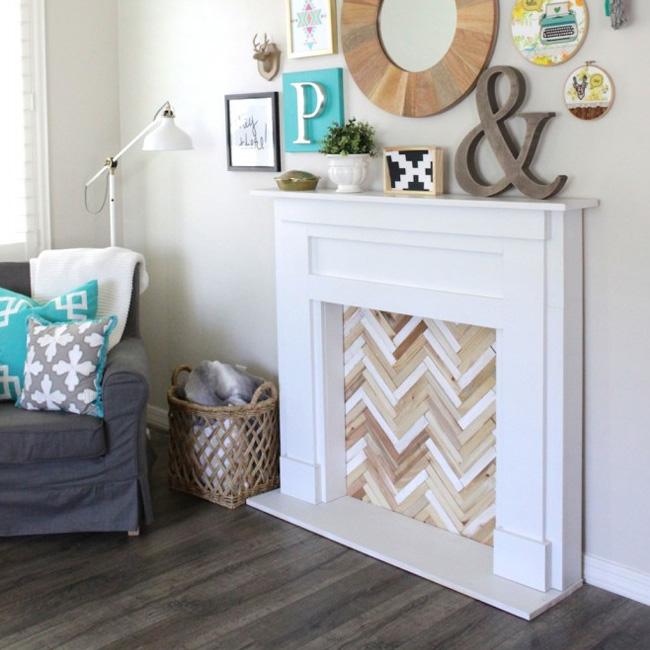fausse cheminée noel diy bois blanc