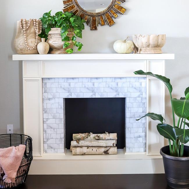 fausse cheminée noel diy bois marbre