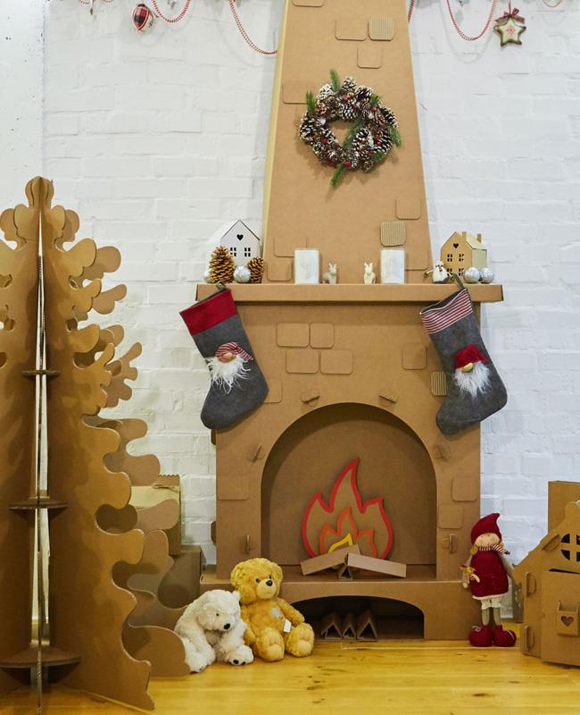 fausse cheminée noel diy carton etsy