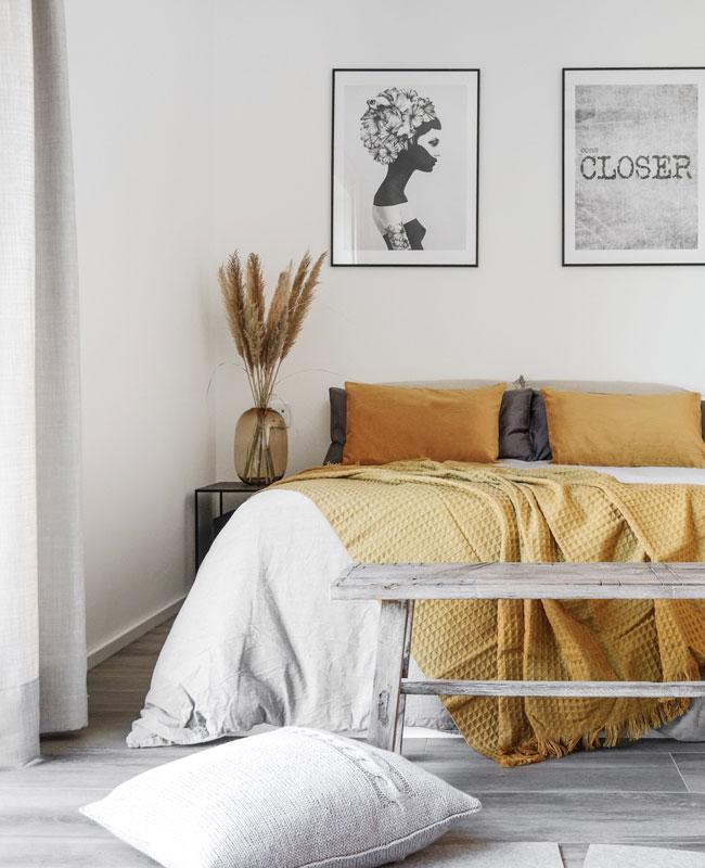 deco chambre gris jaune moutarde
