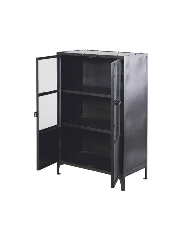 deco industrielle cabinet métal noir vitre