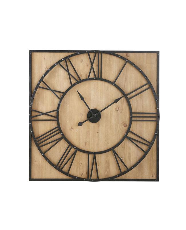 deco industrielle horloge bois métal