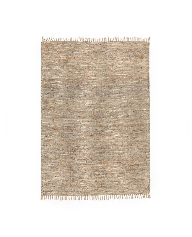 deco industrielle tapis jute cuir