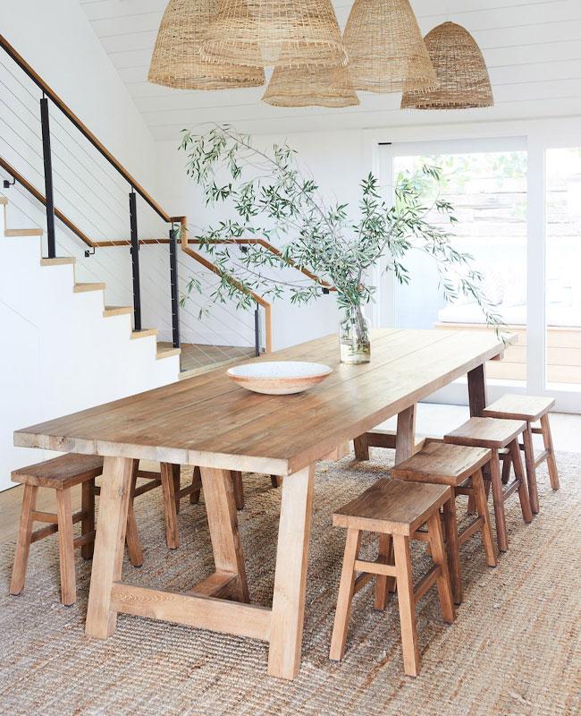 deco salle a manger blanc et bois table
