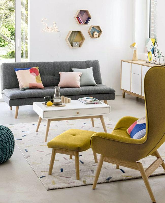 deco salon jaune fauteuil