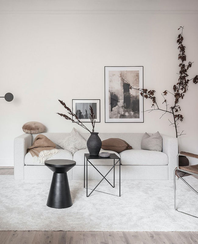 deco salon moderne beige noir
