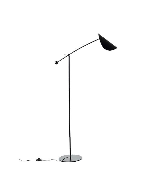 deco salon moderne beige noir lampadaire funambule noir