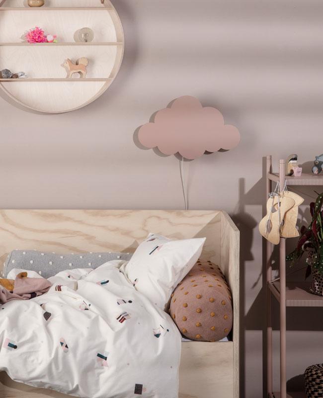luminaire nuage deco bebe applique murale rose