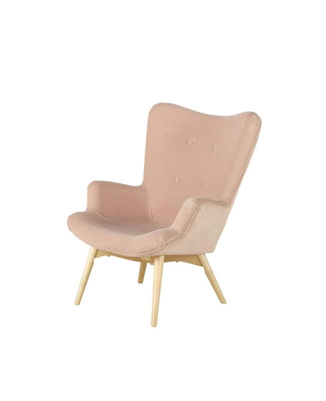 selection meuble deco scandinave fauteuil rose poudré