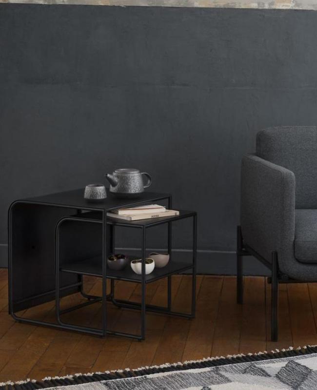 table d'appoint métal double noir