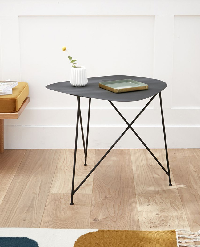 table d'appoint haute métal noir