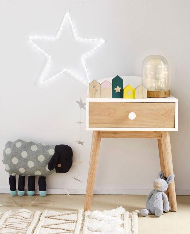 table de chevet enfant deco blanc bois