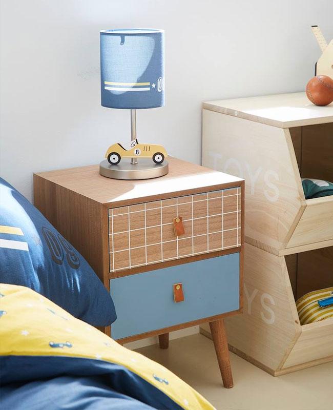 table de chevet enfant deco bois bleu