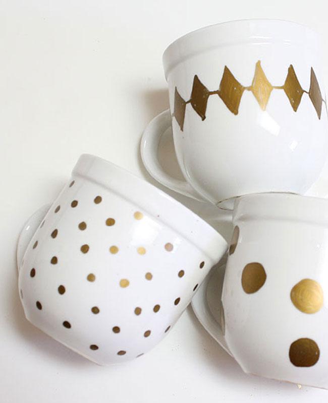 tasse mug diy doré