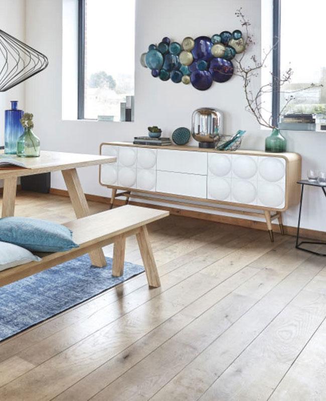buffet salon relief blanc bois