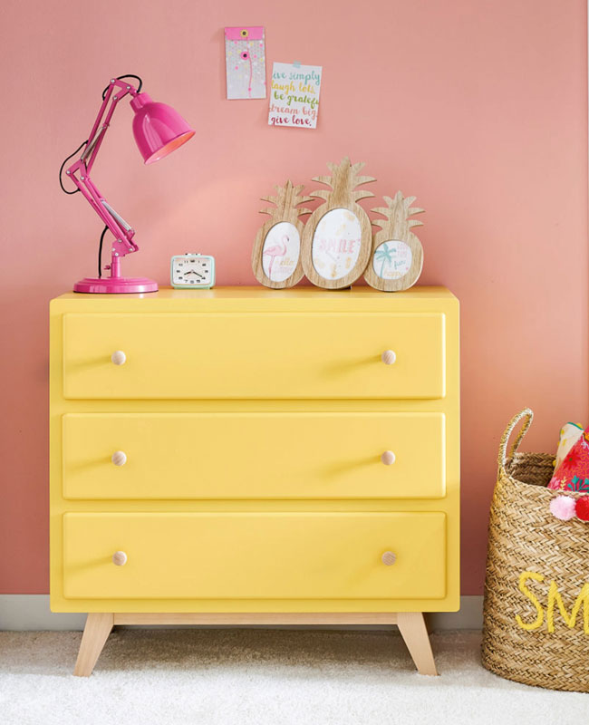 commode chambre bebe jaune moutarde