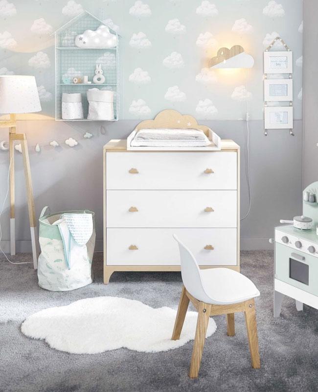 commode chambre bebe blanc bois nuage