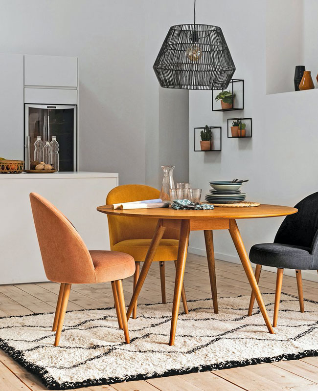 chaise fauteuil tissu salle à manger velours