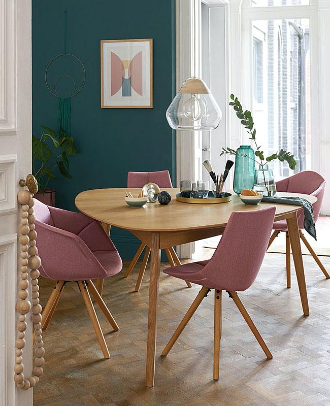 chaise fauteuil tissu salle à manger rose bois