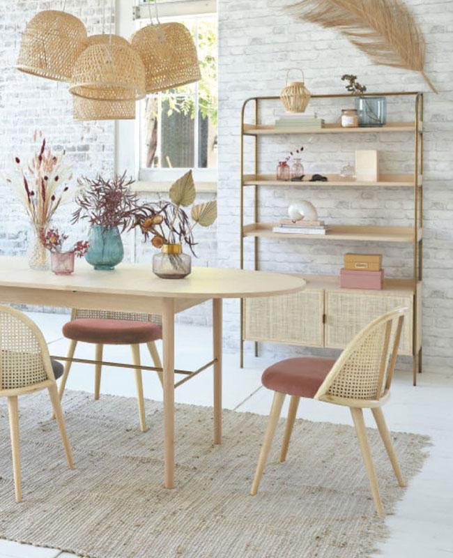 chaise fauteuil tissu salle à manger cannage velours