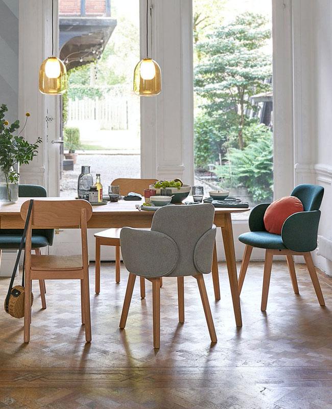 chaise fauteuil tissu salle à manger gris bois