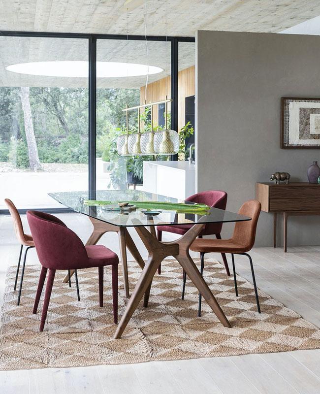 chaise fauteuil tissu salle à manger terracotta noir