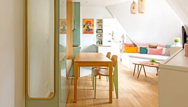 deco appartement boheme colore sejour cuisine