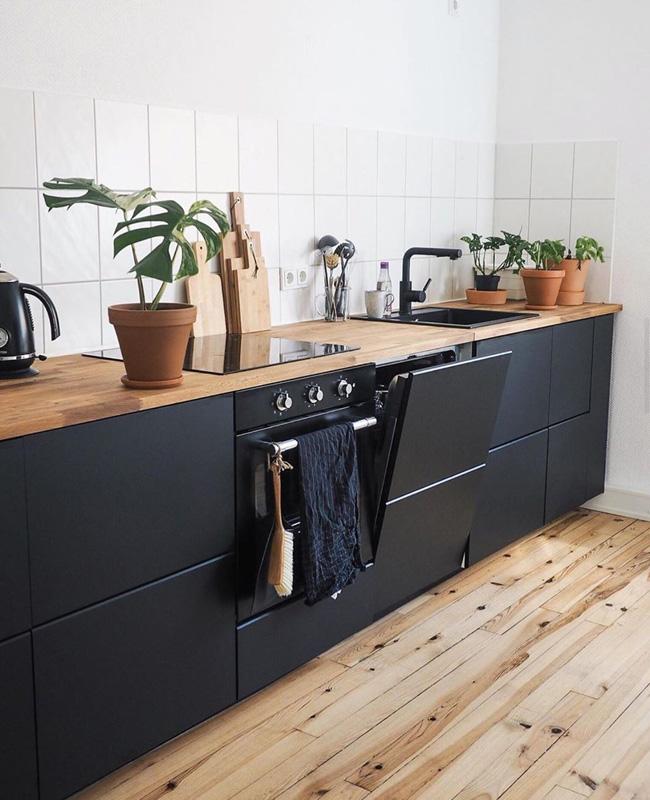 deco cuisine noire bois