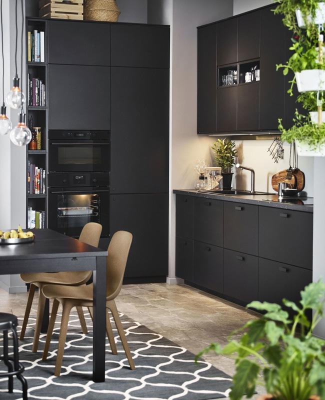 deco cuisine noire plante