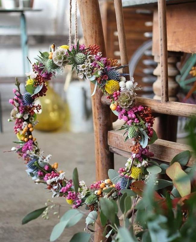 diy fleurs sechees couronne