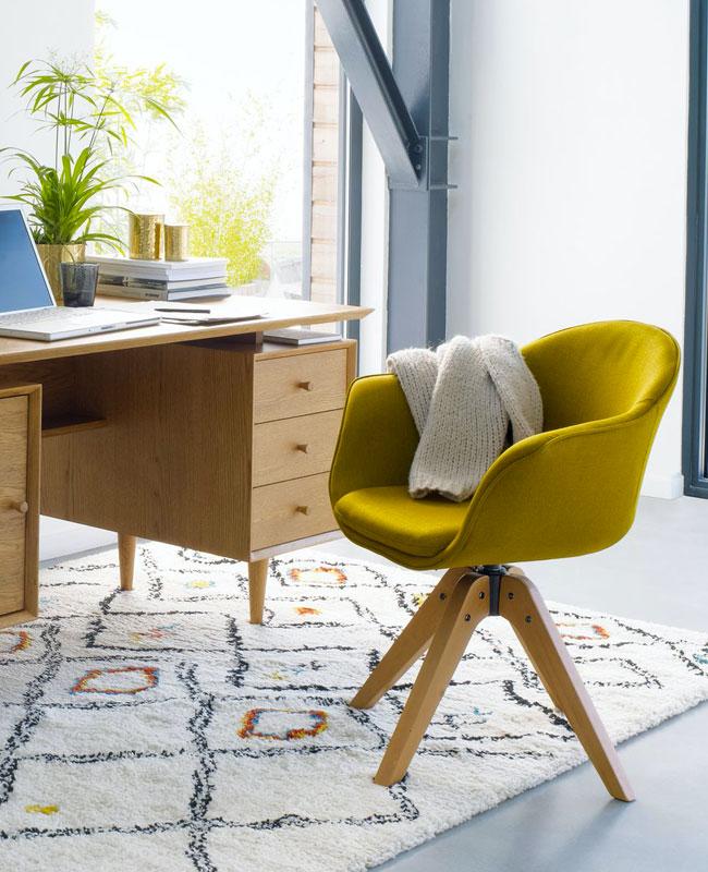 fauteuil bureau moderne jaune moutarde