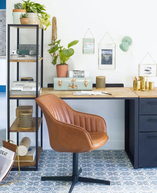 fauteuil bureau moderne cuir marron